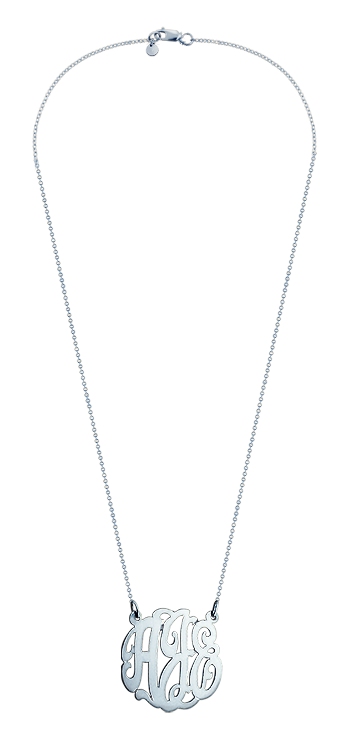 1 inch, Small 14k White Gold Script Initial Lace Monogram Necklace