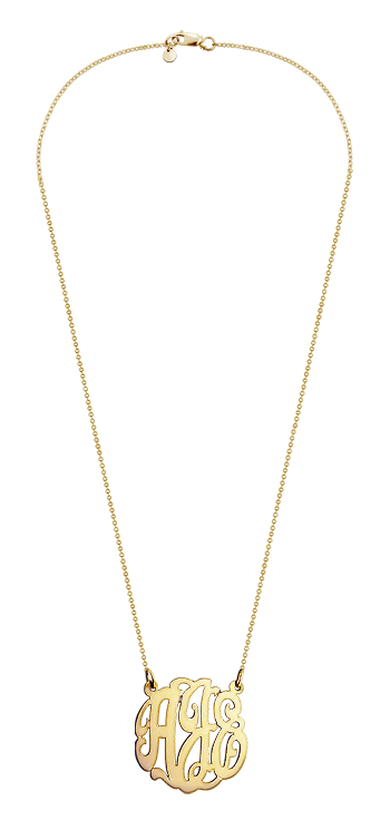 1 inch, Small Solid 14k Gold Script Initial Lace Monogram Necklace