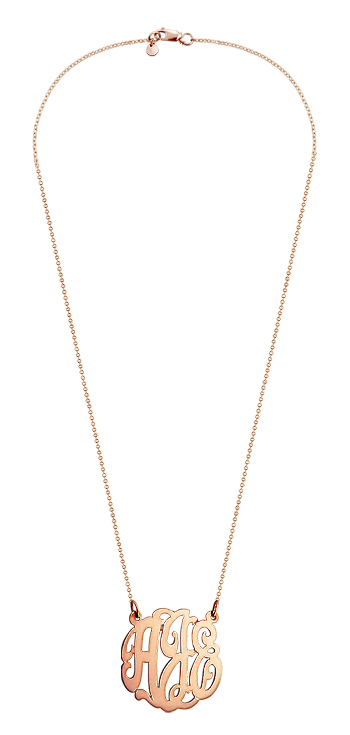 1 inch Solid 14k Rose Gold 3 Initial Lace Monogram Necklace