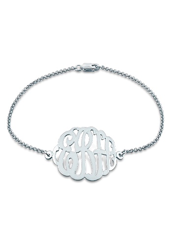 1 inch Sterling Silver 3 Initial Lace Monogram Bracelet