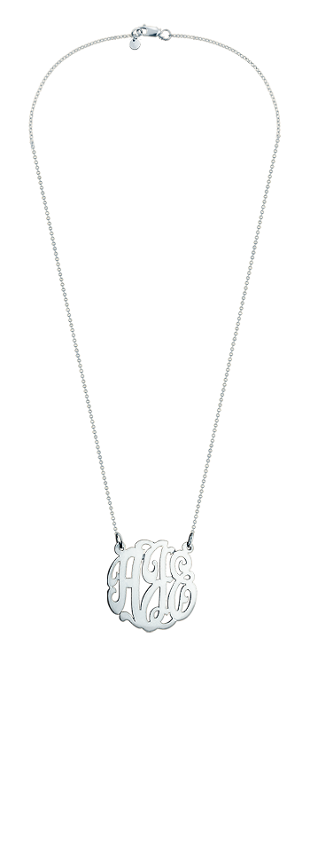 1 inch Sterling Silver 3 Initial Lace Monogram Necklace