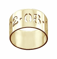 10mm 14k Gold Cut Out Date Ring