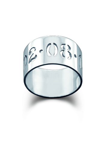 Kay Wicks - 10mm 14k White Gold Cut Out Date Ring