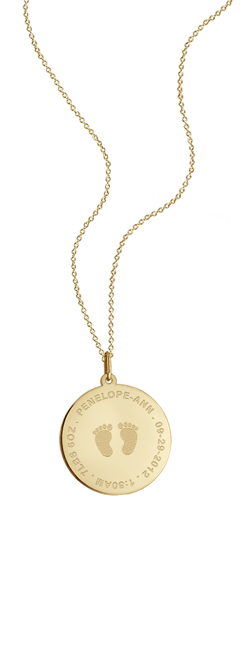 7/8 inch, Solid 14k Gold Baby Footprint Disc Charm Necklace (Personalized)