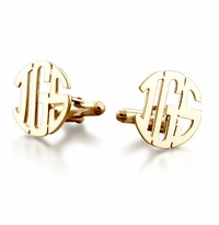 14k Gold Cut Out Initial Block Monogram Cufflinks
