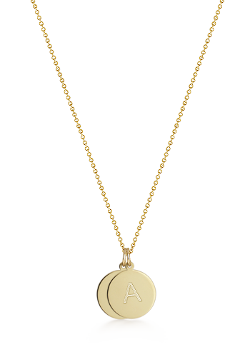 1/2 inch Petite 14k Gold Double Initial Disc Charm Necklace (Engravable)