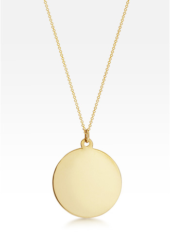 14k Gold Large 1.25 Inch Disc Charm Necklace (Engravable)