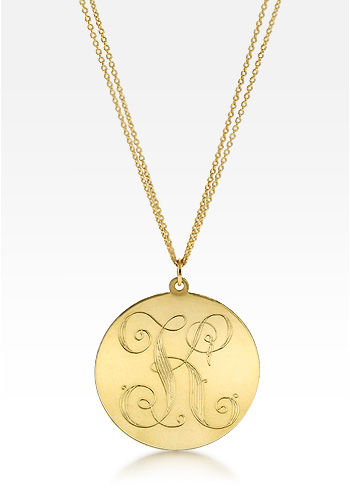 14k Gold Large 1.25 Inch Monogram Initial Disc Charm Necklace w/t Dual Link Chain (Engravable)