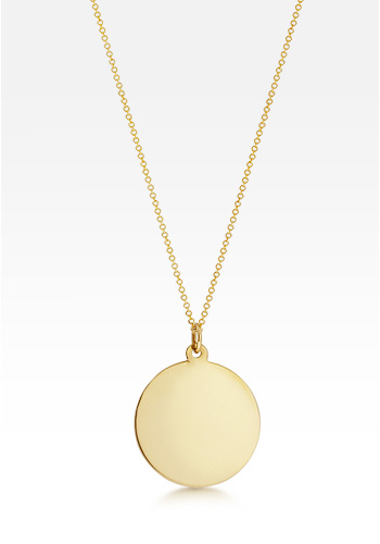 14k Gold Medium 1 Inch Disc Charm Necklace (Engravable)