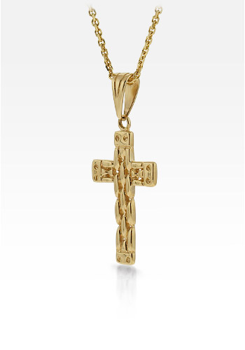 14k Gold Men's Celtic Weave Cross Necklace