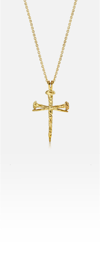 14k Gold Men's Passion Nail Cross Necklace