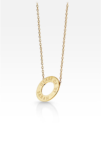 14k Gold Mini Open Circle Pendant and Chain (Engravable)