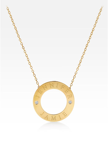 14k Gold Personalized 1 Inch Diamond Open Circle Pendant and Chain (0.06 ctw, Engravable)