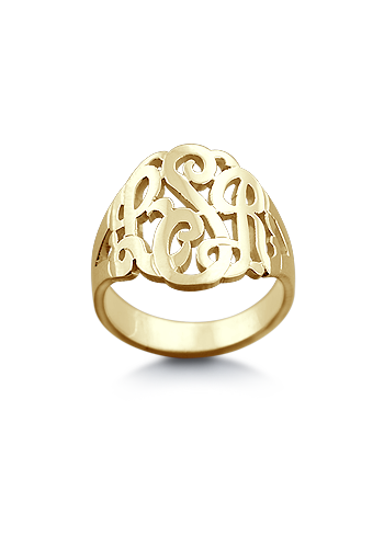 14k Gold Plated Cut Out Three Initial Script Monogram Ring
