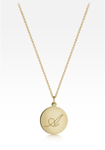 5/8 inch, 14k Gold Script Initial Disc Charm Necklace (Engravable)