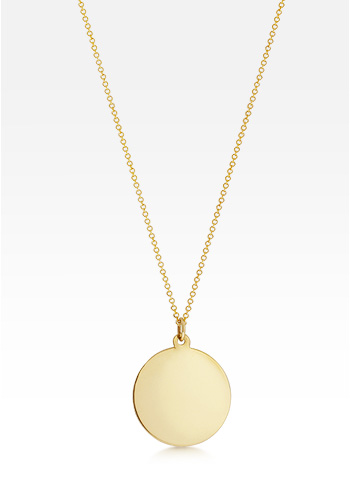 14k Gold Small 7/8 inch Disc Charm Necklace (Engravable)