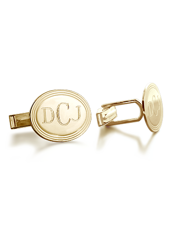 14k Gold Vintage Oval Frame Monogram Cufflinks (Engravable)