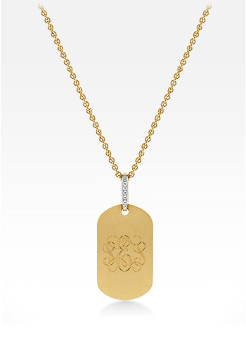 14k Gold Women's Dog Tag Necklace with Brush Finish and Diamond Bail (0.05 ctw, Engravable)