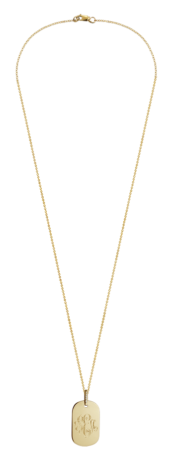 14k Gold Women's Monogrammed Dog Tag Necklace with Diamond Bail (Engravable)