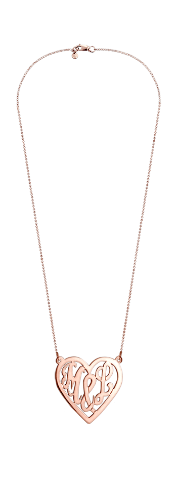 Solid 14k Rose Gold Cut Out You & I Initial Heart Necklace