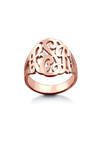 14k Rose Gold Plated Cut Out Three Initial Script Monogram Ring