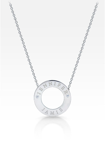 14k White Gold 1 Inch Personalized Diamond Open Circle Necklace (0.06 ctw, Engravable)