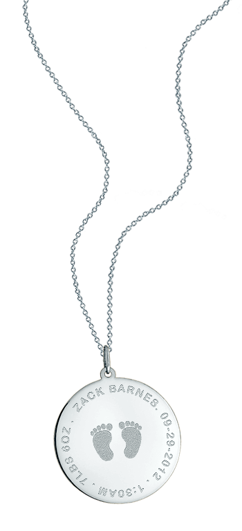 1 inch, 14k White Gold Baby Footprint Disc Charm Necklace (Personalized)