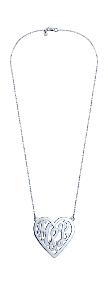 14k White Gold Cut Out You & I Initial Heart Necklace