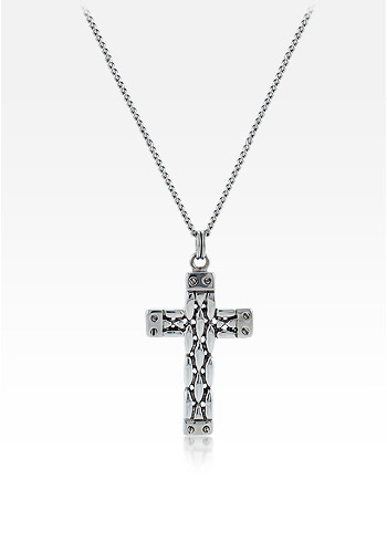14k White Gold Men's Celtic Weave Cross Necklace with Curb Link Chain