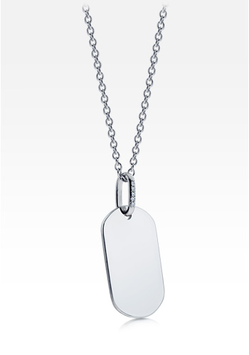 Womens 14k White Gold Dog Tag Necklace w/ Diamond Bail (Engravable)
