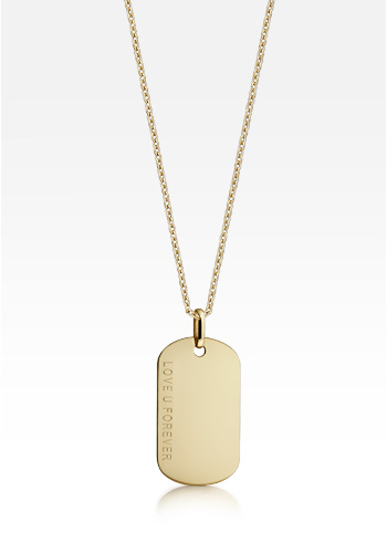 14k Yellow Gold Men's Dog Tag Necklace w/t Link Chain (Engravable)