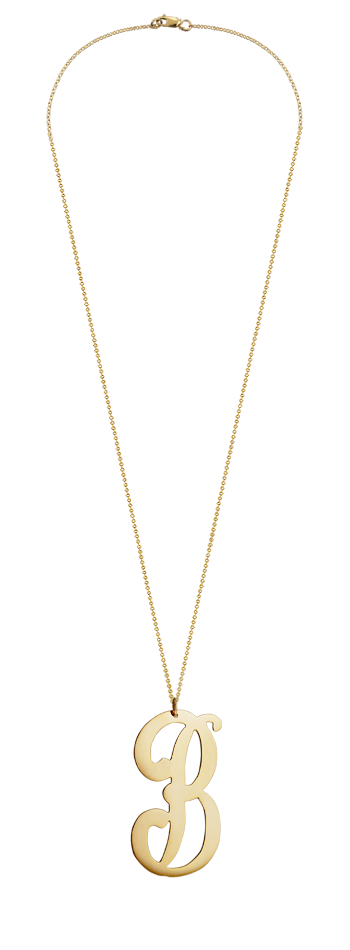 """2"""" Extra Large 14k Gold Vermeil Swirly B Initial Necklace"""
