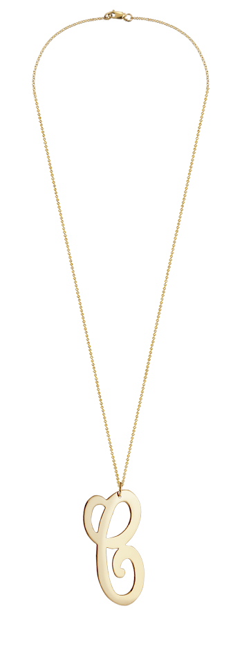 "2"" Extra Large 14k Gold Vermeil Swirly C Initial Necklace"