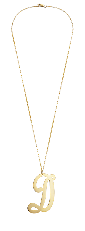 "2"" Extra Large 14k Gold Vermeil Swirly Initial D Necklace"