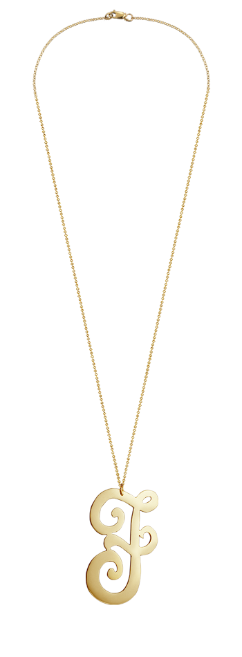 "2"" Extra Large 14k Gold Vermeil Swirly Initial F Necklace"