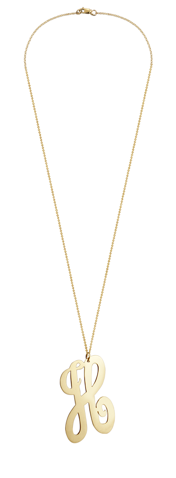 "2"" Extra Large 14k Gold Vermeil Swirly Initial H Necklace"