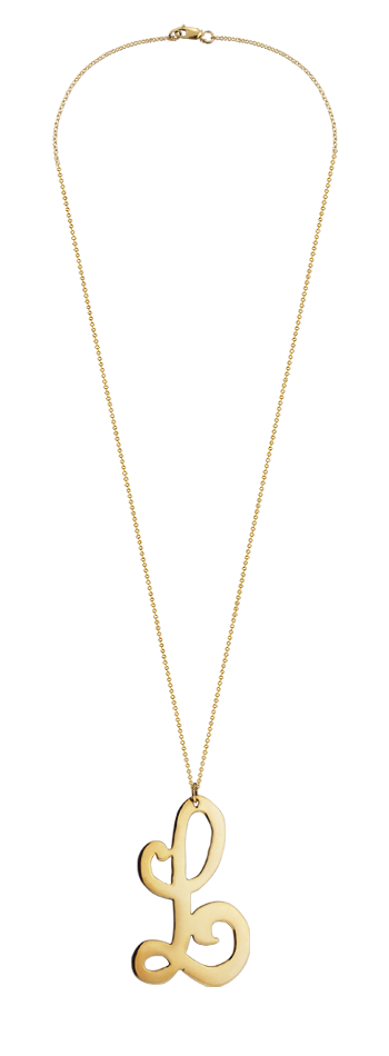 "2"" Extra Large 14k Gold Vermeil Swirly Initial L Necklace"