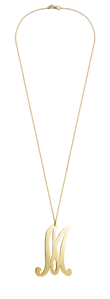 "2"" Extra Large 14k Gold Vermeil Swirly Initial M Necklace"