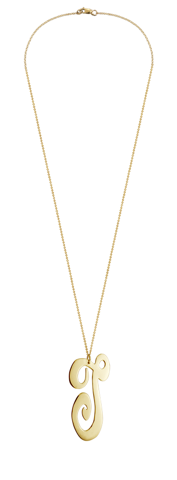 """2"""" Extra Large 14k Gold Vermeil Swirly Initial T Necklace"""