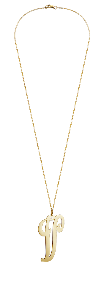 """2"""" Extra Large 14k Gold Vermeil Swirly Initial V Necklace"""