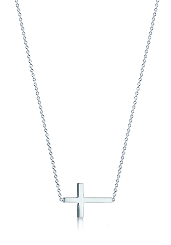 3/4 inch, Small 14k White Gold Sideways Cross Necklace