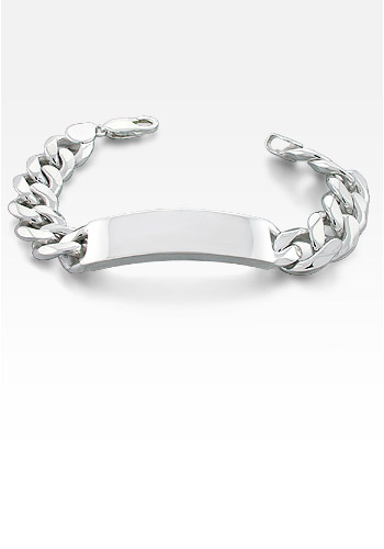 350 Gauge Sterling Silver Curb Link Men's ID Bracelet (Engravable)