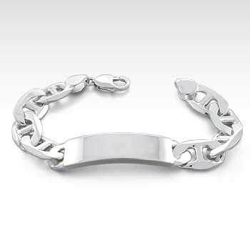 350 Gauge Sterling Silver Mariner Link Men's ID Bracelet (Engravable)