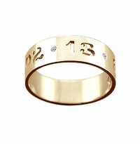 Kay Wicks - 5mm 14k Gold Cut Out Date Ring w/t Diamond Accents