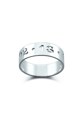 Kay Wicks - 5mm 14k White Gold Cut Out Date Ring