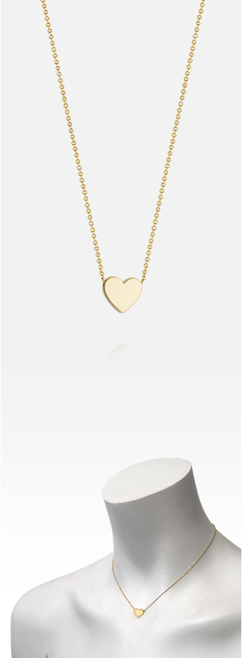 7/16 Inch, Petite 14k Gold Sliding Heart Charm Necklace