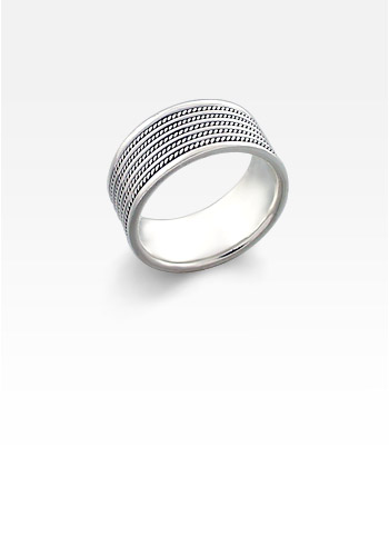 9mm Men's Wide Sterling Silver Milgrain-Ridge Ring (Engravable)