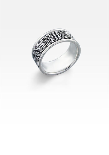 9mm Wide Men's Sterling Silver Milgrain Etched Ring (Engravable)