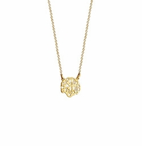 Children's Solid 14k Gold Cut Out Initial Monogram Necklace