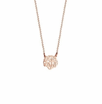 Children's Solid 14k Rose Gold Cut Out Initial Monogram Necklace
